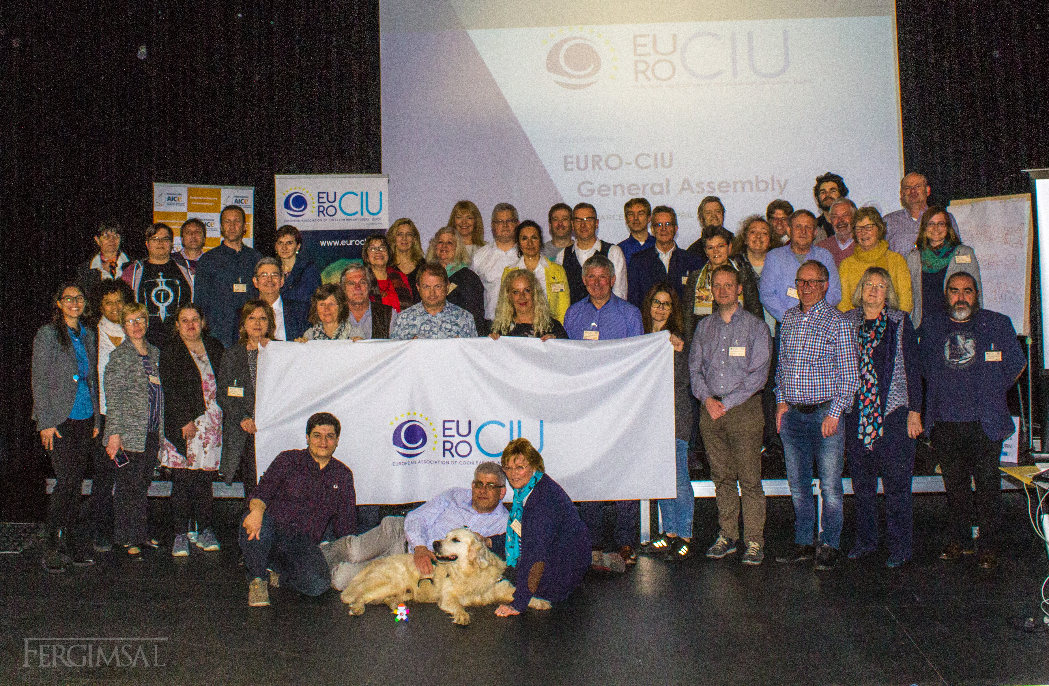Grupo de participantes en la Asamblea General EUROCIU, Barcelona 2018