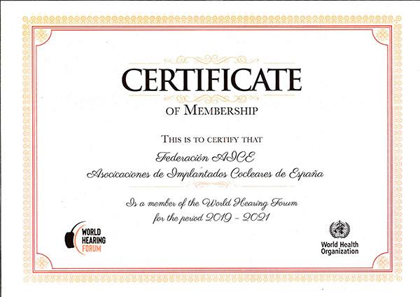 CErtificado de pertenencia al World Hearing Forum (Foro Mundial de la Audición-OMS))