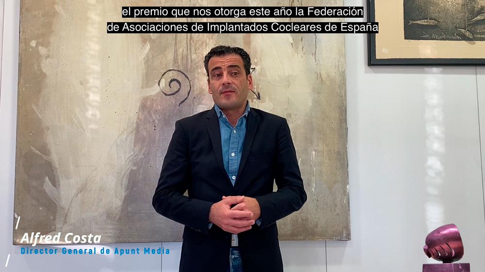 D. Alfred Costa, Director General de Apunt-Media, agradeciendo el Premio AICE 2020
