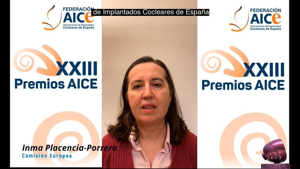 Dña. Inmaculada Placencia-Porrero, representante de accesibilidad en la Comisión Europea, agradeciendo el premio AICE 2020