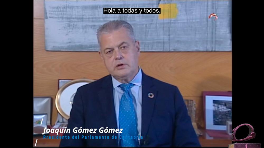 D. Joaquín Gómez Gómez, Presidente del Parlamento de Cantabria, agradeciendo la concesión del premio AICE 2020