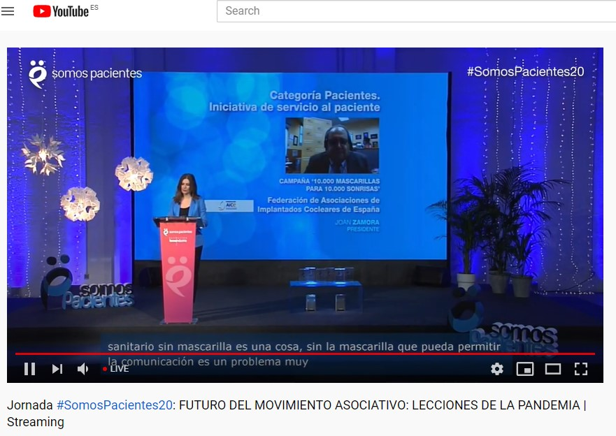 Video Conferencia Premio Somos Pacientes a la Federacion AICE