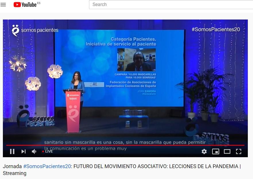 Video Conferencia Premio Somos Pacientes a la Federacion AICE