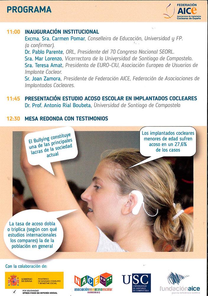 Imagen cartel Presentación Estudio Acoso Escolar en Implantados Cocleares